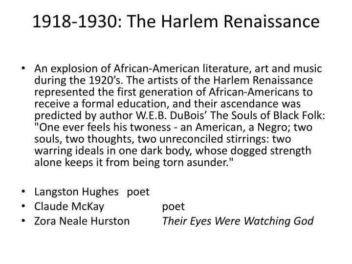 1918-1930: The Harlem Renaissance