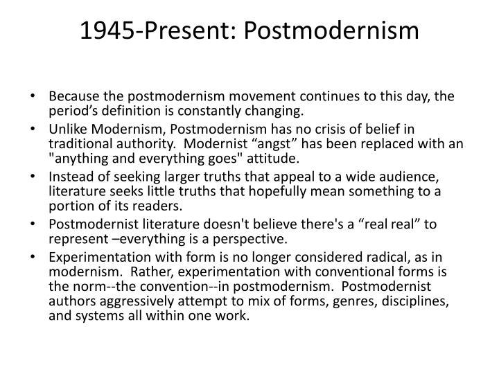 1945-Present: Postmodernism