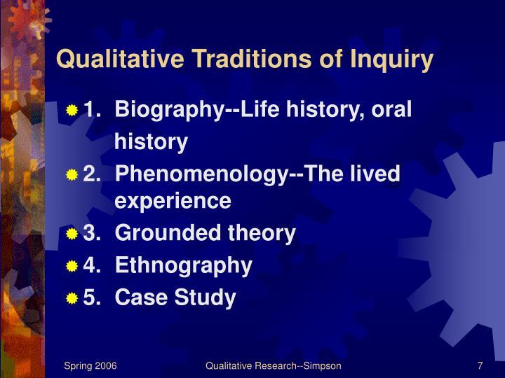 Qualitative Traditions of Inquiry