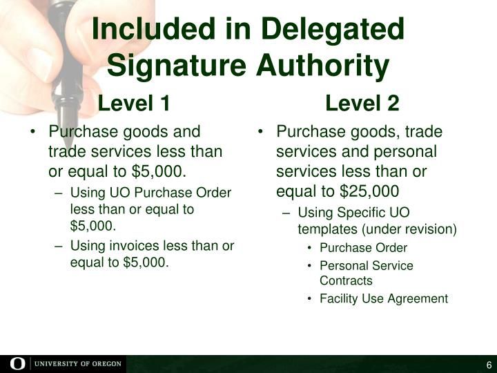 Included in Delegated Signature Authority