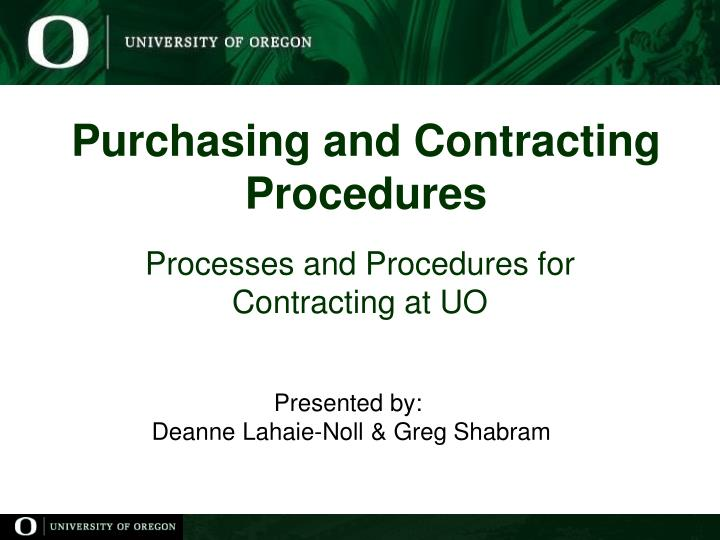 Purchasing and Contracting Procedures