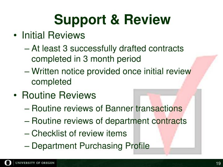 Support & Review
