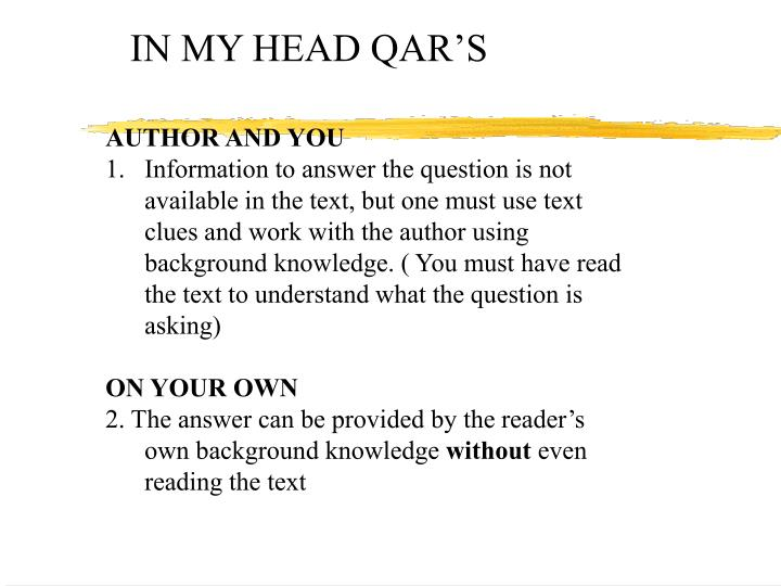 IN MY HEAD QAR'S