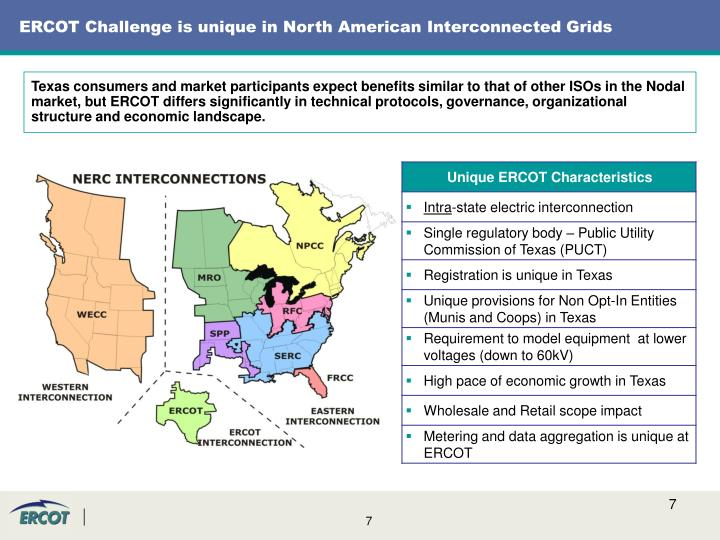 ERCOT Challenge is unique in North American Interconnected Grids