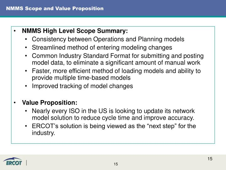 NMMS Scope and Value Proposition