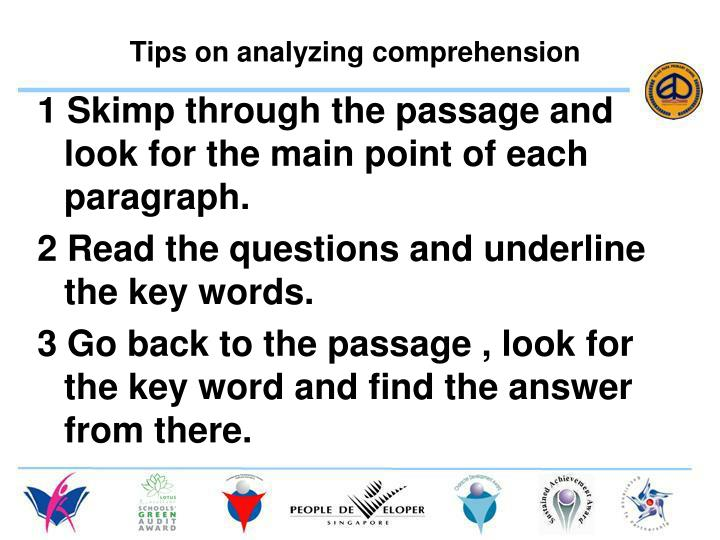 Tips on analyzing comprehension