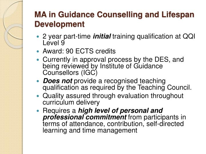 MA in Guidance Counselling and Lifespan Development