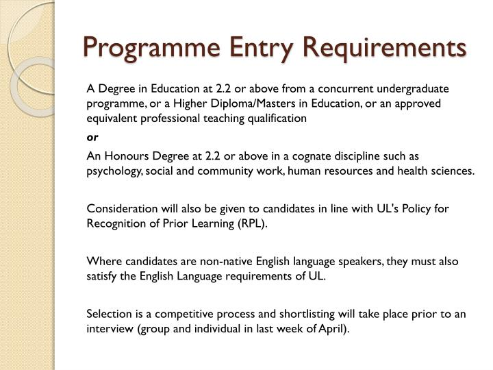 Programme Entry Requirements