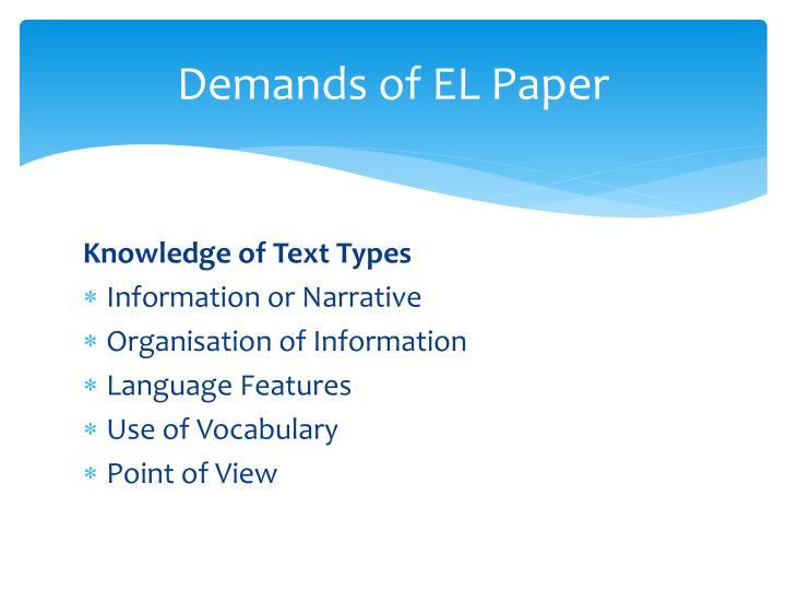 Demands of EL Paper
