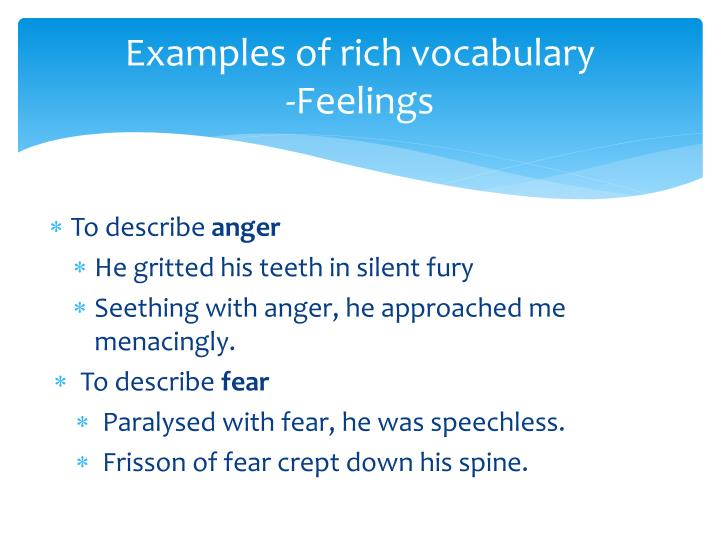 Examples of rich vocabulary