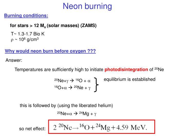 Neon burning