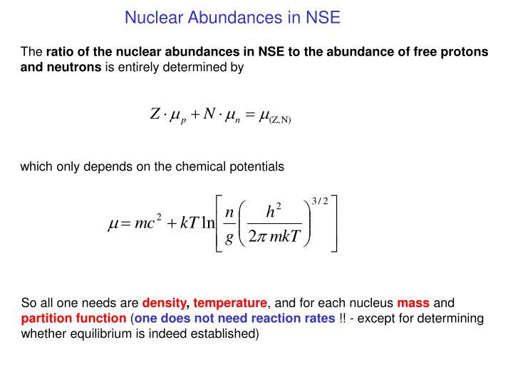 Nuclear Abundances in NSE