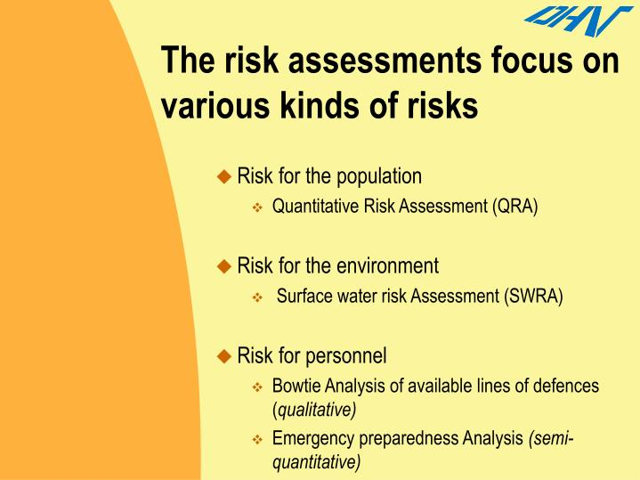 The risk assessments focus on various kinds of risks