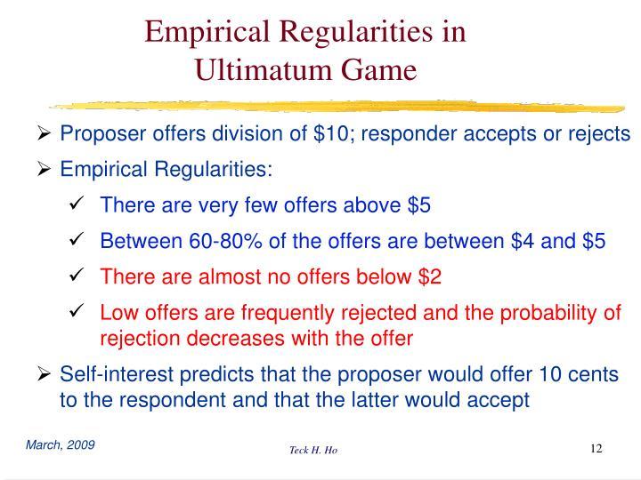 Empirical Regularities in Ultimatum Game