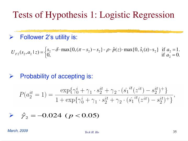 Tests of Hypothesis 1: Logistic Regression
