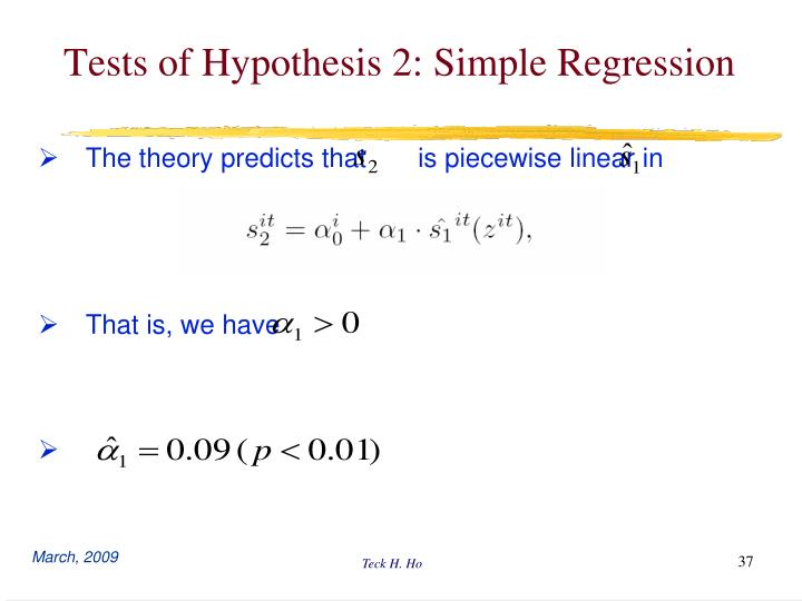 Tests of Hypothesis 2: Simple Regression