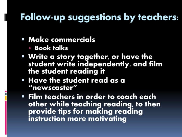 Follow-up suggestions by teachers: