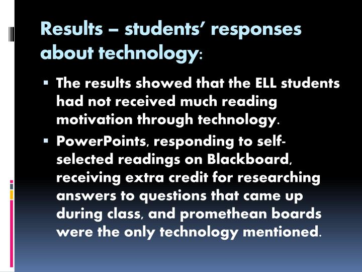 Results – students' responses about technology: