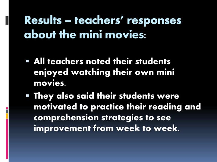 Results – teachers' responses about the mini movies: