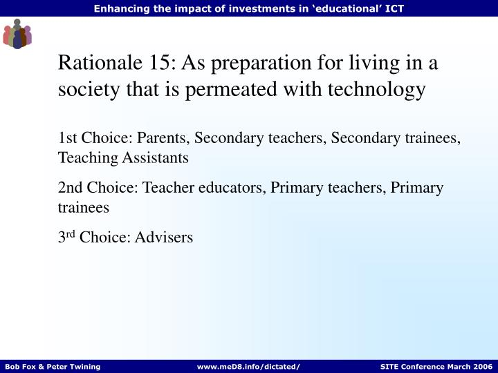 Rationale 15: As preparation for living in a society that is permeated with technology