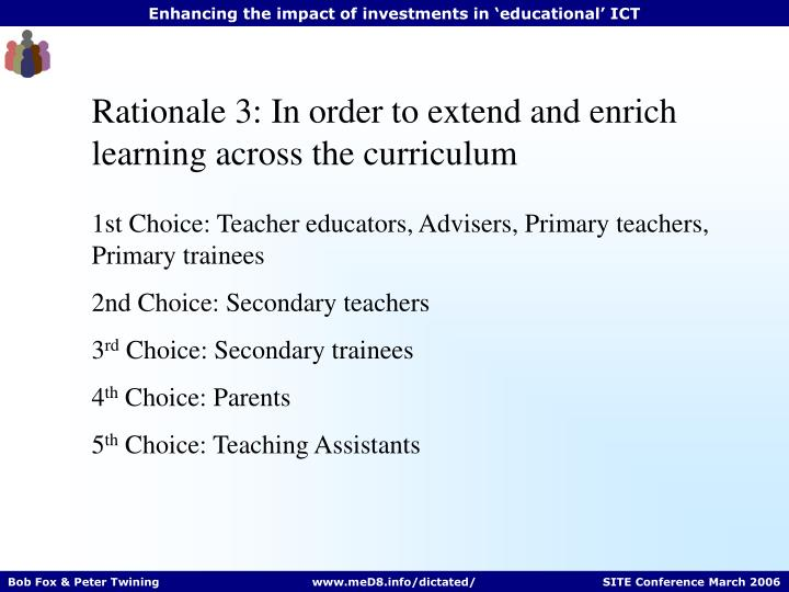 Rationale 3: In order to extend and enrich learning across the curriculum