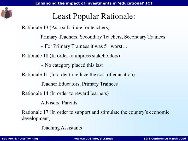 Least Popular Rationale: