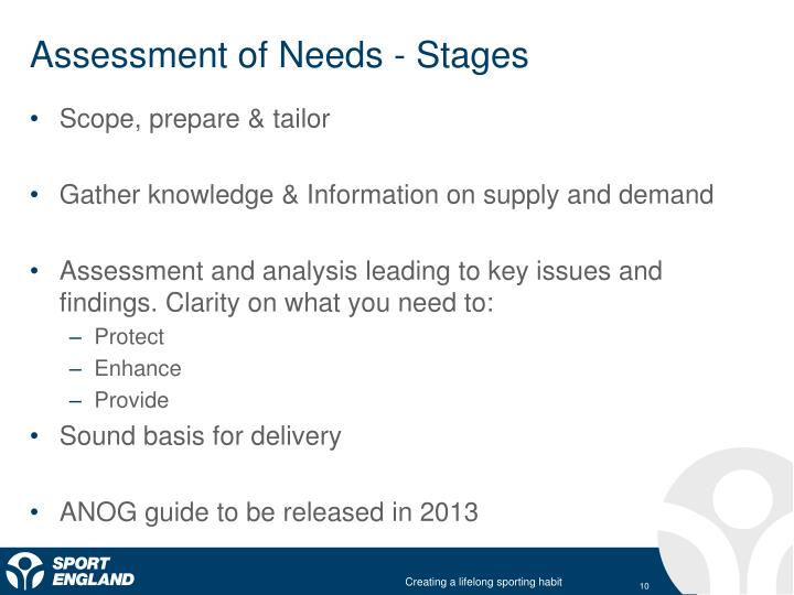 Assessment of Needs - Stages