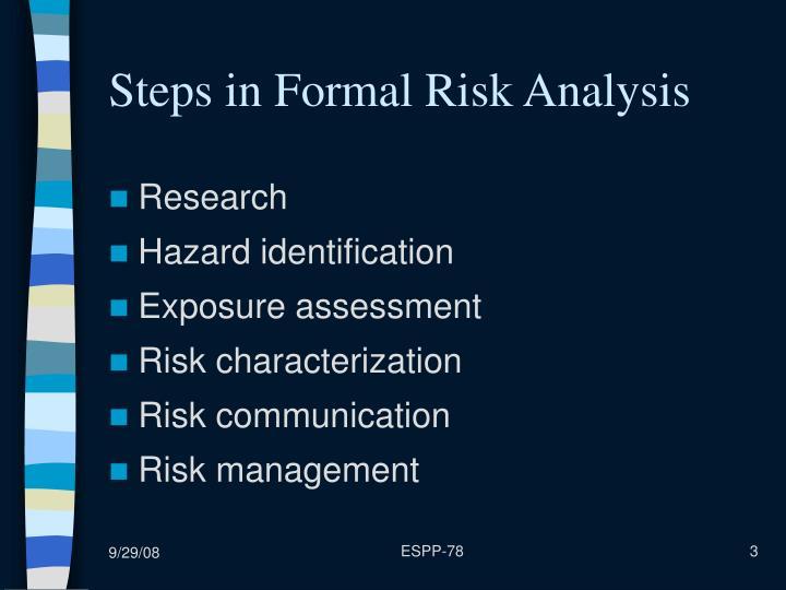 Steps in Formal Risk Analysis