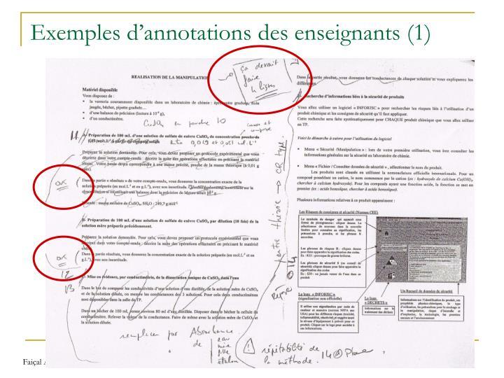 Exemples d'annotations des enseignants (1)
