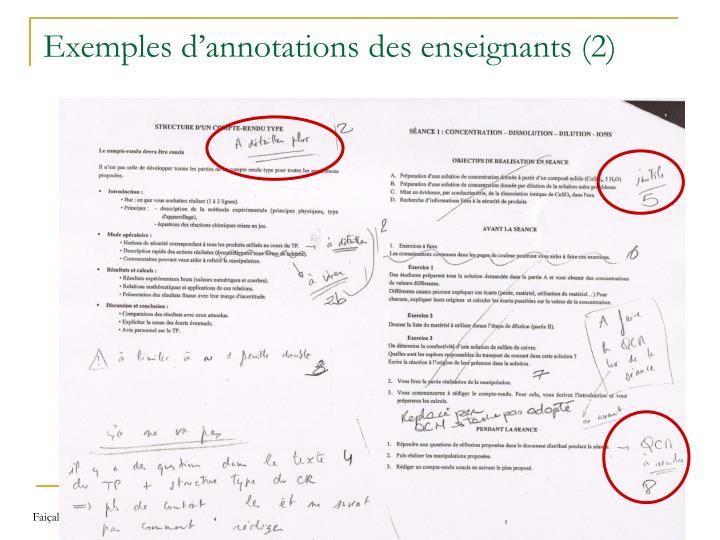 Exemples d'annotations des enseignants (2)