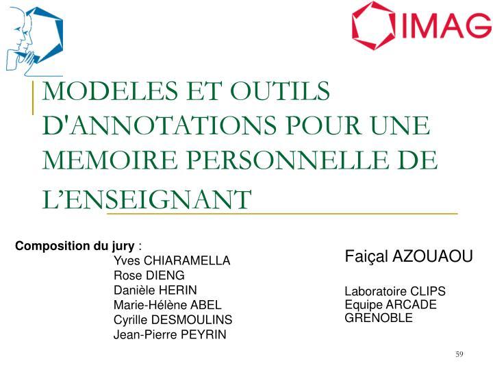 MODELES ET OUTILS D'ANNOTATIONS POUR UNE MEMOIRE PERSONNELLE DE L'ENSEIGNANT
