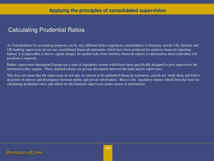 Calculating Prudential Ratios