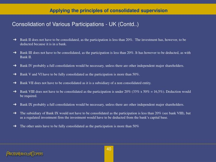 Consolidation of Various Participations - UK (Contd..)