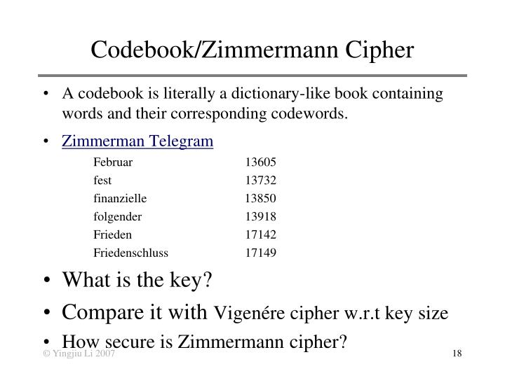 Codebook/Zimmermann Cipher
