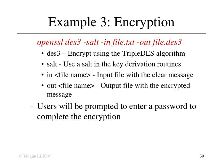 Example 3: Encryption