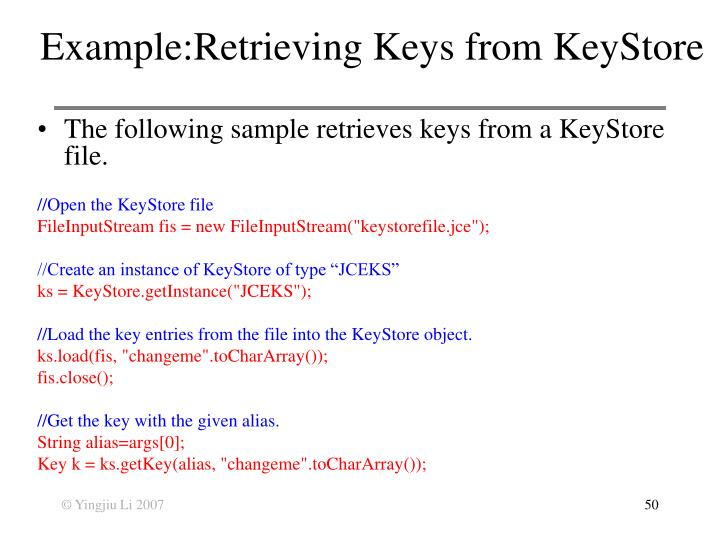 Example:Retrieving Keys from KeyStore