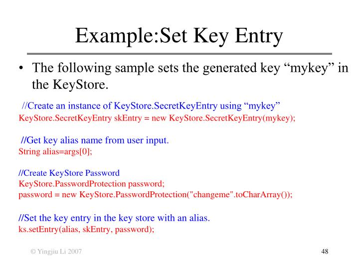 Example:Set Key Entry