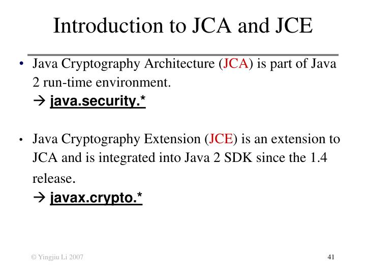 Introduction to JCA and JCE