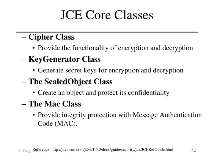 JCE Core Classes