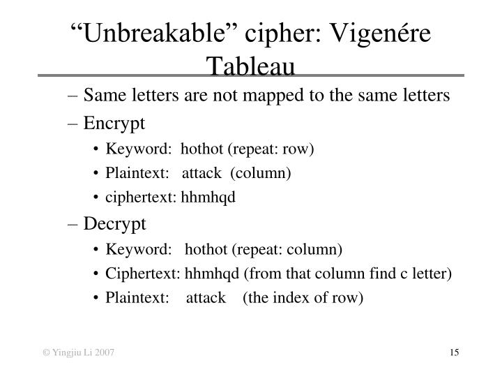 """Unbreakable"" cipher: Vigen"