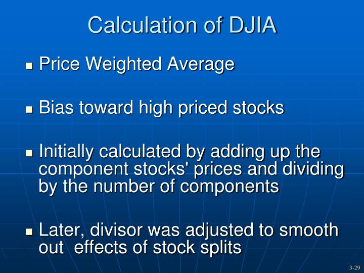 Calculation of DJIA