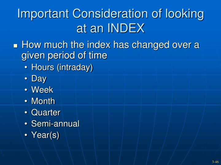Important Consideration of looking at an INDEX