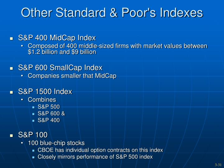 Other Standard & Poor's Indexes