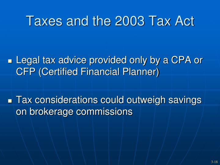 Taxes and the 2003 Tax Act