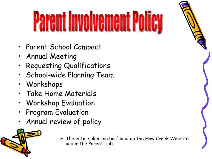 Parent Involvement Policy
