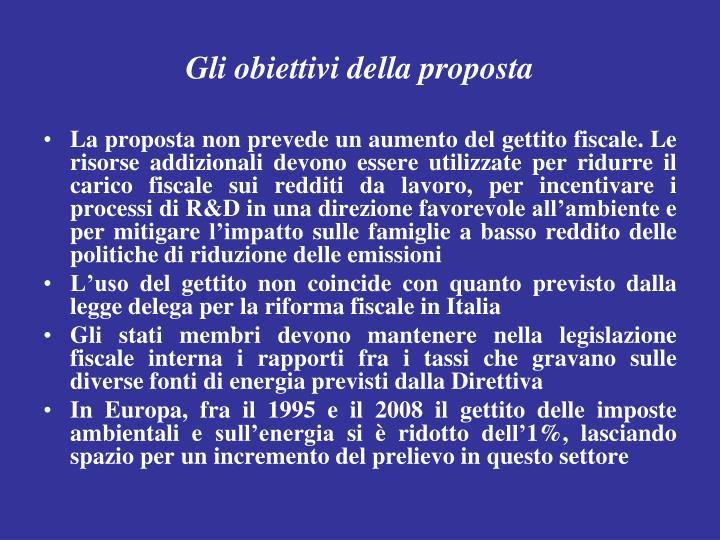 Gli obiettivi della proposta