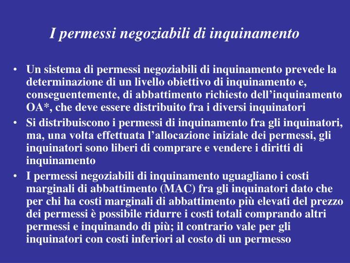 I permessi negoziabili di inquinamento
