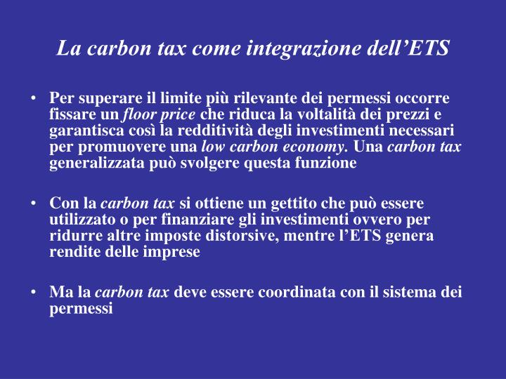 La carbon tax come integrazione dell'ETS
