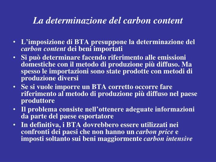 La determinazione del carbon content