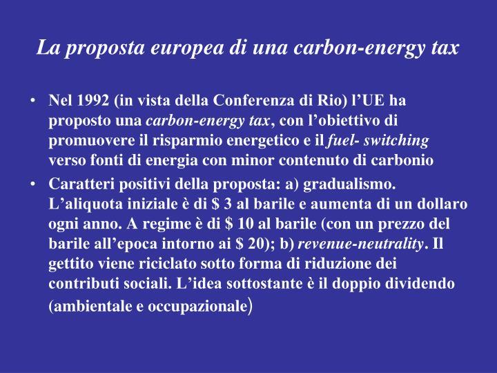 La proposta europea di una carbon-energy tax